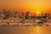 River Nile Luxor Egypt, Beautiful Yellow Sunny Background