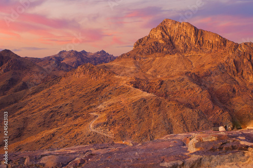 Tuinposter Amazing Sunrise at Sinai Mountain, Beautiful dawn in Egypt, Beautiful view from the mountain