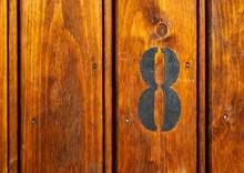Number 8 On Door Of Storage Room For Tenants In Century-old Apartment Building In Stockholm