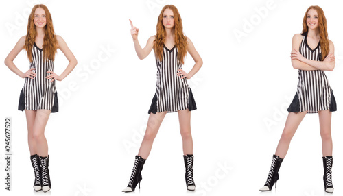 Beautiful woman in striped dress Canvas Print