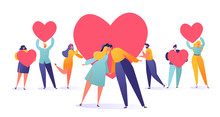 Romantic Vector Illustration On Love Story Theme. Set Of People Holding A Heart Symbols, Valentine Cards. Happy Lover Man And Woman Kissing. Lifestyle Concept On Valentine Day Theme.