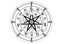 Wiccan Symbol Of Protection. Set Of Mandala Witches Runes, Mystic Wicca Divination. Ancient Occult Symbols, Earth Zodiac Wheel Of The Year Wicca Astrological Signs, Vector Isolated Or White Background