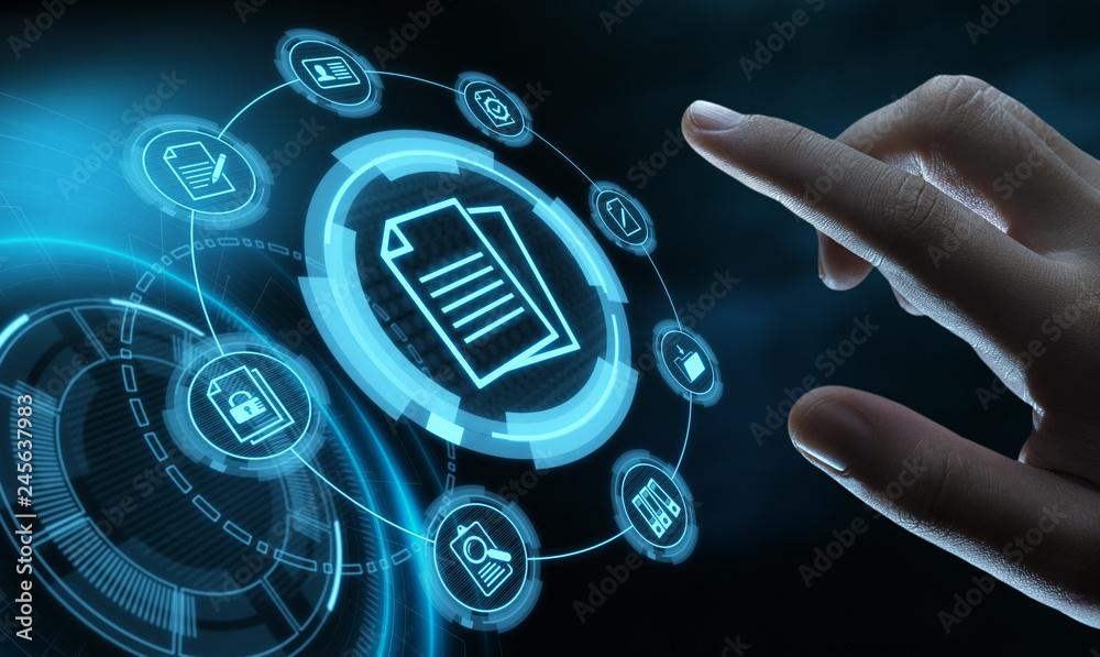 Fototapeta Document Management Data System Business Internet Technology Concept