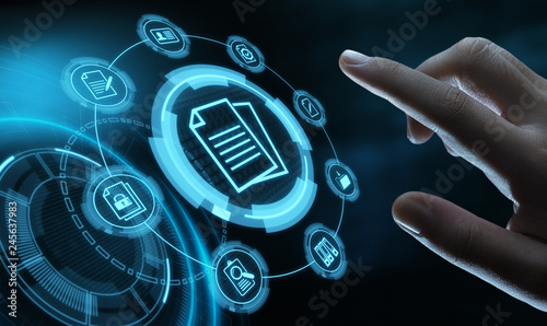Document Management Data System Business Internet Technology Concept - fototapety na wymiar