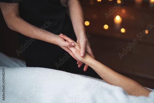 Foto op Canvas School de yoga Young lady have relaxing massage of hand