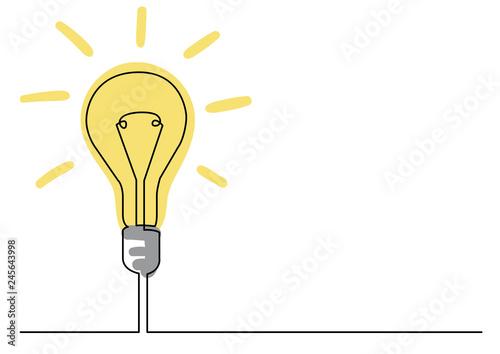 Fotografía continuous line drawing of light bulb or idea metaphor