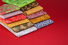 Stack Of Folded Cotton Fabric ...