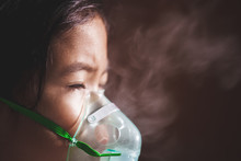 Asian Child Girl Has Asthma Or...