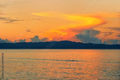 Sunset over Somosomo Strait seen from Taveuni Island, Fiji