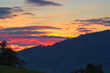 The most beautiful sunset in Switzerland, the sky is bright with bright, orange, yellow bright colors, late summer evening.