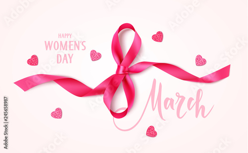 Obraz 8 march. Happy Women's day design template. Decorative pink bow and heart confetti with text on pink background. Vector illustration - fototapety do salonu