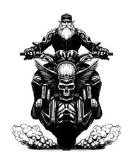 Bearded Biker On A Motorcycle With A Skull