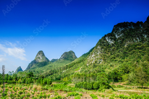 Foto op Canvas Donkerblauw Karst mountains scenery with blue sky background