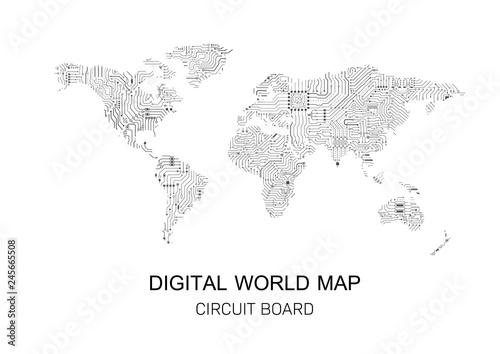digital world map – kaufen Sie diese Vrgrafik und finden Sie ... on