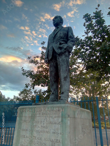 Photo  The statue of Sir Alf Ramsey outside the Portman Road stadium in Ipswich, UK