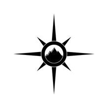 Mountain Icon Or Logo, Compass...