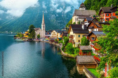 Fotografie, Obraz  Wonderful old alpine village and misty morning, Hallstatt, Salzkammergut, Austri