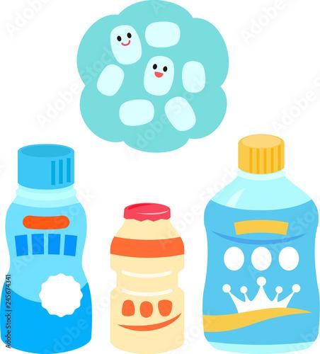 乳酸菌飲料のイラストセット Fototapet
