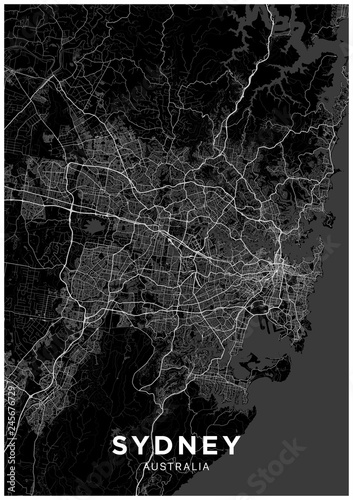 Fototapeta Sydney (Australia) city map