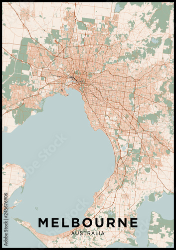 Map Of Melbourne Australia.Melbourne Australia City Map Poster With Map Of Melbourne In