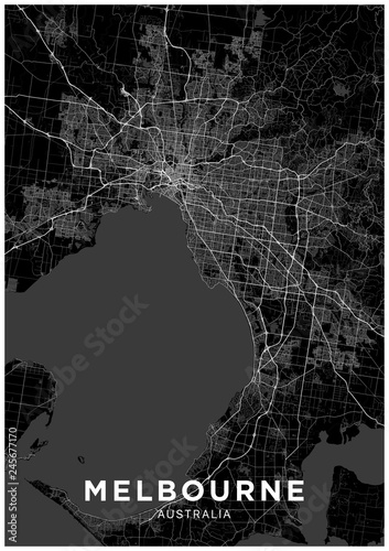 Fotomural Melbourne (Australia) city map