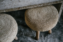 Natural Straw Weave Pillow Rou...