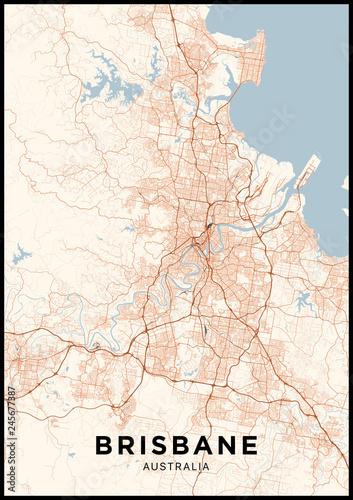 Brisbane Map Australia.Brisbane Australia City Map Poster With Map Of Brisbane In Color
