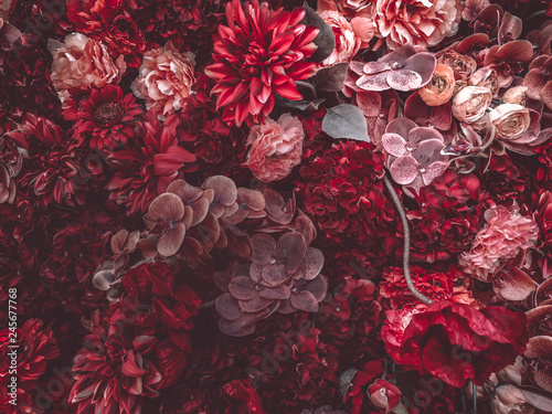 Artificial Flowers Wall for background in vintage style Canvas Print