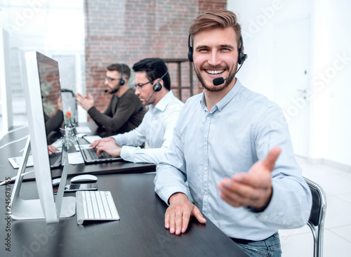 portrait of the call center operator in the workplace Canvas Print