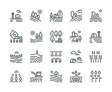 Farming Landscape Line Icons. ...
