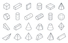 3D Geometric Shapes. Isometric...