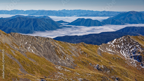 Photo Looking down on clouds, Nelson Lakes National Park, New Zealand.