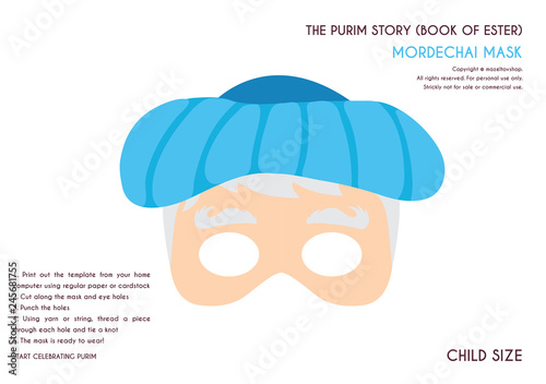 Purim story characters masks for kids -can be usrd for kids activity, party, fam Canvas Print