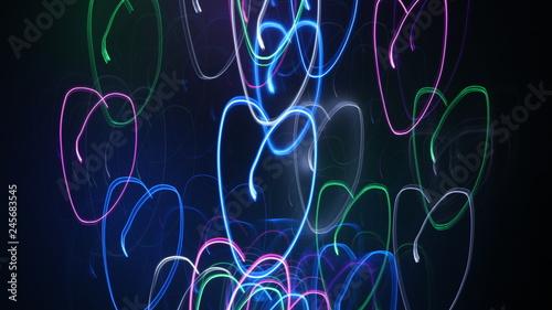 Fototapeta LED lighting design style for love symbols, night lights, drawing with LED lights,Storm of Light  obraz na płótnie