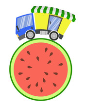 Delivery Truck With Shop And Melon