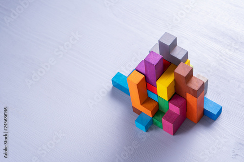 Abstract construction from wooden blocks shapes. Wallpaper Mural