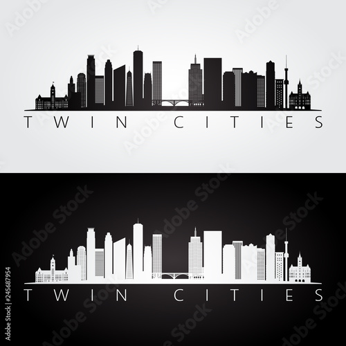 Fotomural  Twin cities USA skyline and landmarks silhouette, black and white design, vector illustration