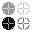Viking shield icon set grey black color illustration outline flat style simple image