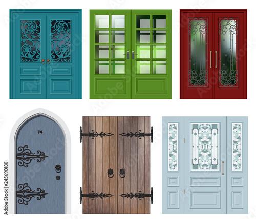 Set of different white door vector illustration Canvas Print