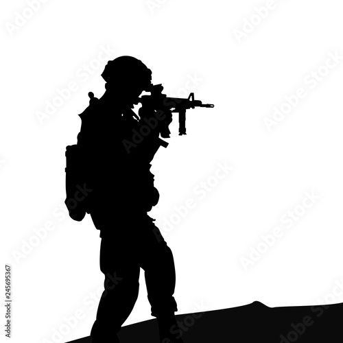 Canvas Prints Military Silhouette of a soldier with a gun, a simple picture
