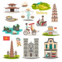 Vietnam Landmark Vector Icons ...