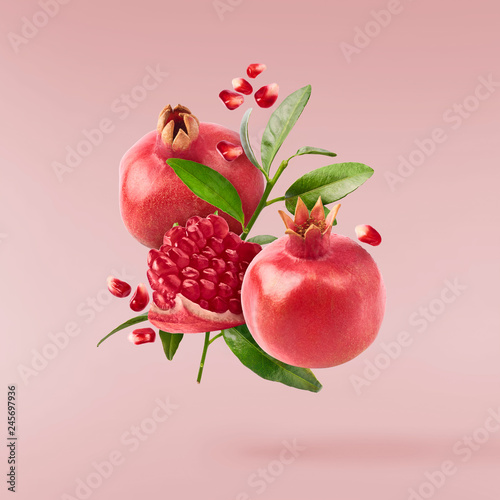 Obraz na plátně Flying in air fresh ripe whole and cut pomegranate with seeds and leaves
