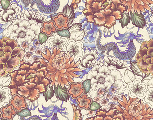 vintage seamless asian traditional patterns. Japanese painted flowers peonies...