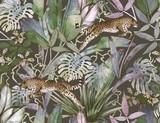 Tropikalny wzór z tropikalnych kwiatów, liści bananowca i pantery, lamparta, puma, żbik - 245700573
