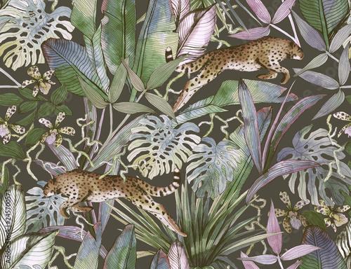 tropikalny-wzor-z-tropikalnych-kwiatow-lisci-banana-i-pantera-lampart-kuguar-zbik