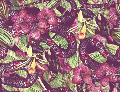 tropikalny-wzor-z-tropikalnych-kwiatow-lisci-banana-i-weza