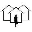 house icon with woman real estate agent