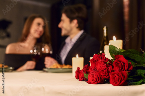 Romantic dinner for couple, booking concept Canvas Print
