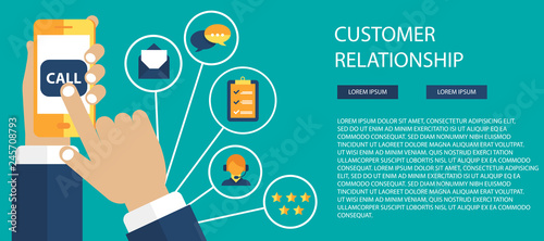 Business customer care service concept  Icons set of contact us