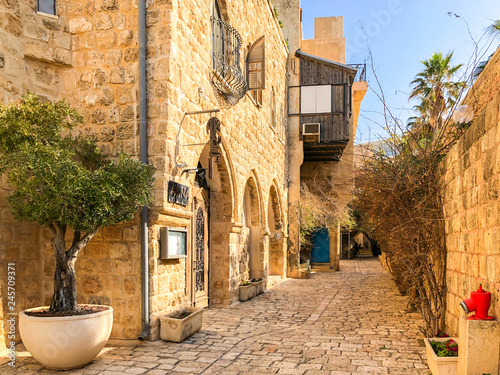 Papiers peints Con. Antique Ancient stone streets in Artists Quarter of Old Jaffa, Israel